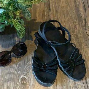 Women's Black Suede Teva Sandals